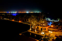 Dubai. In the summer of 2016. A water oasis in the evening on the territory of Madinat Jumeirah Mina a Salam. A water oasis in the evening on the territory of Stock Photography
