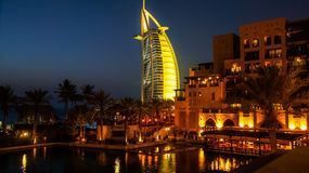 Dubai. Summer 2016. Water oasis on site Madinat Jumeirah Mina A Salam. A view of the famous hotel Burj al Arab. Stock Image