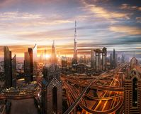 Dubai sunset panoramic view of downtown royalty free stock images