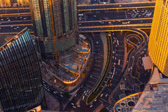 Dubai sunset roads from above Stock Image