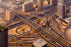 Dubai sunset roads from above. Dubai sunset road junction from above Stock Images