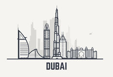 Dubai svartlinjer stock illustrationer