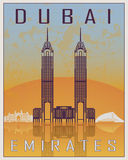 Dubai tappningaffisch stock illustrationer