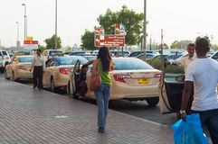 Dubai Taxi rank outside Gold, Dubai, UAE Royalty Free Stock Image