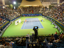 Dubai Tennis Stadium Court. DUBAI, UAE - FEBRUARY 22: Commentary Box view of Dubai Tennis Stadium Centre during Dubai Tennis Championships 2010 on February 22 Royalty Free Stock Image