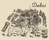 Dubai top view Hand drawn engraved vector Stock Image