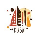 Dubai tourism logo template hand drawn vector Illustration Stock Photo