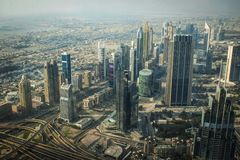 Dubai towers from above during the day Royalty Free Stock Image