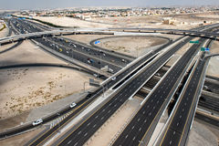 Dubai town aerial view panorama of highway royalty free stock image