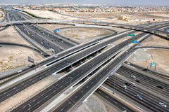 Dubai town highways aerial view panorama Royalty Free Stock Photos