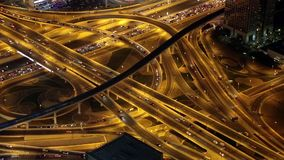 Dubai traffic at night, United Arab Emirates stock video
