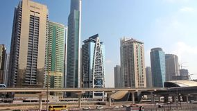 Dubai traffic, United Arab Emirates. Dubai is a city and emirate in the UAE (United Arab Emirates ). The emirate is located south of the Persian Gulf on the stock video footage