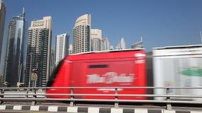 Dubai Tram in Dubai Marina, UAE stock video footage