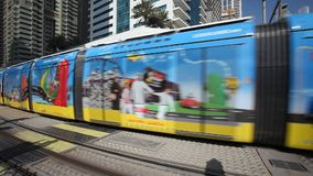 Dubai Tram in Dubai Marina, UAE stock video