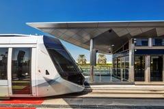 The Dubai Tram located in Al Sufouh, Dubai, UAE Stock Photo