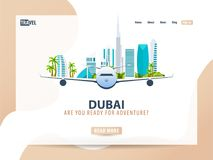 Dubai. Travel banner or web template for web site or landing page. Time to travel. Vector UI illustration. stock illustration