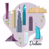Dubai. Travel map and vector landscape of buildings and famous l Royalty Free Stock Photography