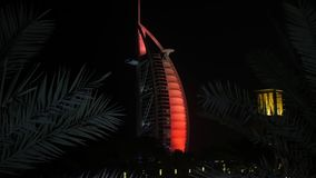 DUBAI, U.A.E. - JAN, 2018: building of Burj Al Arab hotel in night against black sky, palm leaves. Are in foreground stock footage