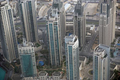 Dubai, UAE. Aerial view from the height of Burj Khalifa Royalty Free Stock Photos