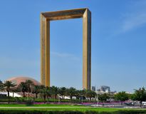 Dubai, UAE - April 8. 2018. Dubai frame - building in form of frame for photos Royalty Free Stock Image