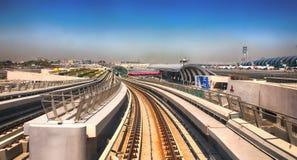 Dubai, UAE - April 7, 2014. Dubai Metro high-speed rail network. Metro in Dubai royalty free stock photos