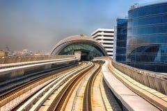 Dubai, UAE - April 7, 2014. Dubai Metro high-speed rail network. Metro in Dubai stock photography