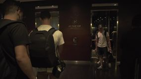 People are waiting for the elevator to the world`s tallest observation deck in the Burj Khalifa building stock footage. Dubai, UAE - April 09, 2018: People are stock video
