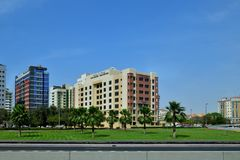 Dubai, UAE - April 8. 2018. View of hotel Roda Metha Suites Stock Photography