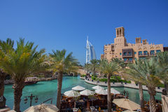 DUBAI, UAE - APRIL 11: View of the Souk Madinat Jumeirah.Madinat Jumeirah encompasses hotels and traditional Arabic architecture. Royalty Free Stock Images