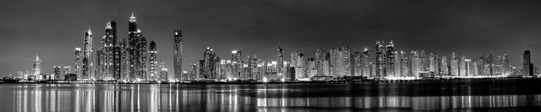 Dubai, UAE. The beautiful panorama of skyscrapers in Dubai Marina. black and white, UAE royalty free stock images