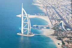 Dubai, UAE. Burj Al Arab from above Royalty Free Stock Photo