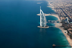 Dubai, UAE. Burj Al Arab from above Stock Photo