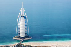 Dubai, UAE. Burj Al Arab from above Stock Photos