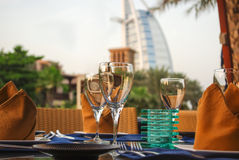 Dubai, UAE. Burj Al Arab hotel with arabic architecture Royalty Free Stock Photography