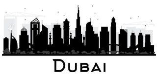 Dubai UAE City skyline black and white silhouette. Stock Image