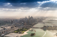 Dubai, UAE. City skyline at dusk, aerial view.  Stock Images