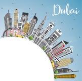 Dubai UAE City Skyline with Gray Buildings, Blue Sky and Copy Sp royalty free illustration