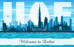 Dubai UAE city skyline vector silhouette royalty free illustration