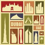 Dubai UAE city vector icon symbol silhouette set stock illustration