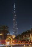 DUBAI, UAE - 11 DE MAIO DE 2016: Torre de Burj Khalifa na noite Fotografia de Stock Royalty Free