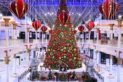 DUBAI, UAE - DEC 10: Christmas tree and decorations at the Wafi Mall in Dubai, UAE, as seen on Dec 10, 2017. The complex. Includes a mall, hotel, restaurants Royalty Free Stock Photography