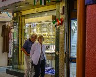 People visit the Gold Souk in Dubai stock images