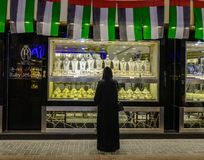 People visit the Gold Souk in Dubai royalty free stock photo