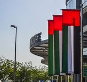 United Arab Emirates flags in front of building royalty free stock images
