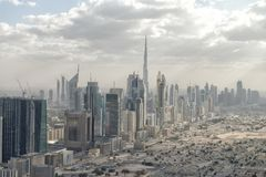 DUBAI, UAE - DECEMBER 10, 2016: Aerial city skyline from helicop. Ter. Dubai attracts 20 million people annually Stock Image