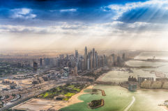 DUBAI, UAE - DECEMBER 10, 2016: Aerial view of Burj Al Arab and Royalty Free Stock Photos