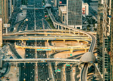 DUBAI, UAE - DECEMBER 08, 2015: Aerial view of Sheikh Zayed highway road in Dubai. With traffic in the evening Royalty Free Stock Photo