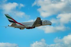 DUBAI, UAE - DECEMBER, 2016: Airbus A380. 800 is a double-deck, wide-body, four-engine jet airliner. It is the world`s largest passenger airliner belonging to Royalty Free Stock Image