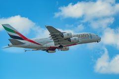 DUBAI, UAE - DECEMBER, 2016: Airbus A380. 800 is a double-deck, wide-body, four-engine jet airliner. It is the world`s largest passenger airliner belonging to Royalty Free Stock Images