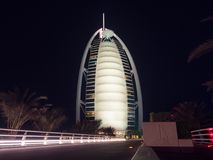 The Burj Al Arab hotel in Dubai at night royalty free stock images